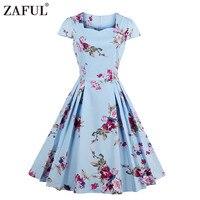 ZAFUL 2017 Summer Women Dress Audrey Hepburn 50s Rockbilly Vestidos Short Sleeve Floral Print Cotton Vintage