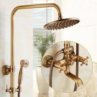 Antique Brass Shower Faucets Bathroom Shower Faucet Set Mixer Tap With Hand Sprayer Wall Mounted Bath shower sets 8 Rainfall