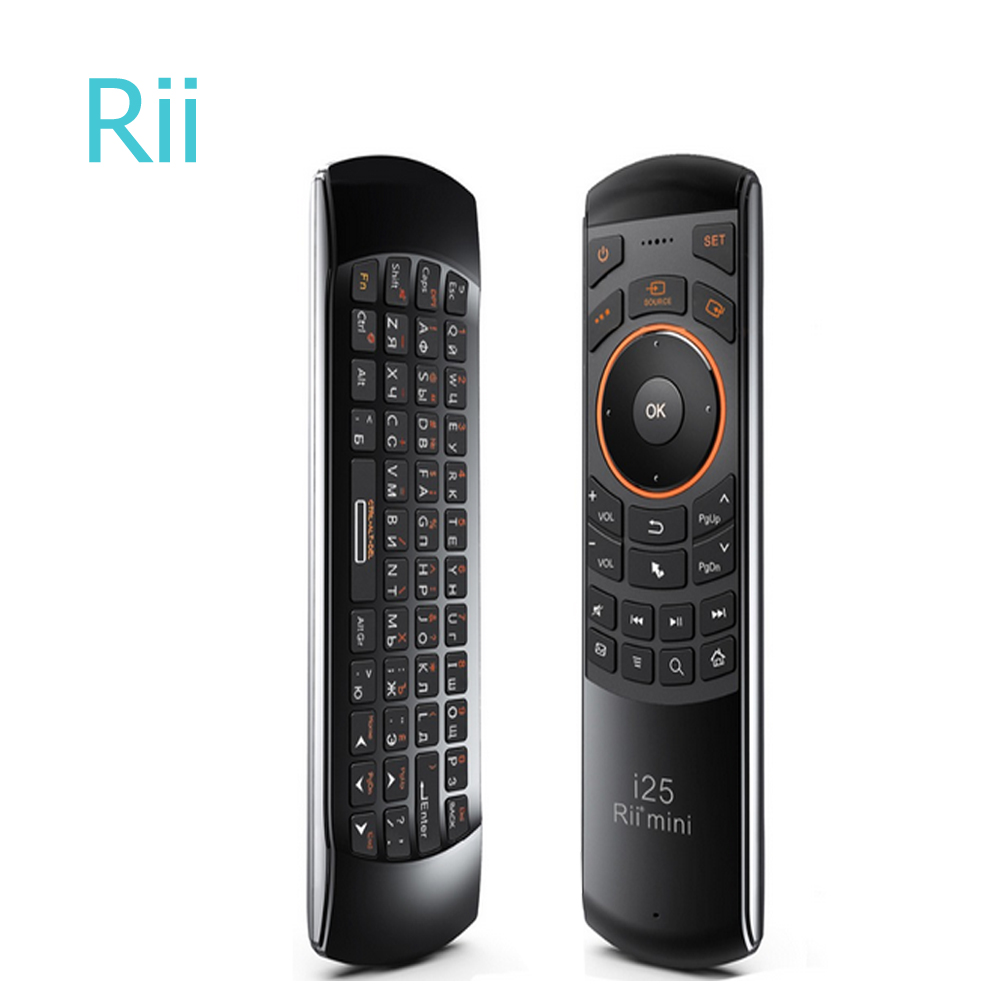 Rii i25 2.4G Wireless Russian English Keyboard Fly Air Mouse IR Extender Learning Remote Control For Android Smart TV IPTVRii i25 2.4G Wireless Russian English Keyboard Fly Air Mouse IR Extender Learning Remote Control For Android Smart TV IPTV