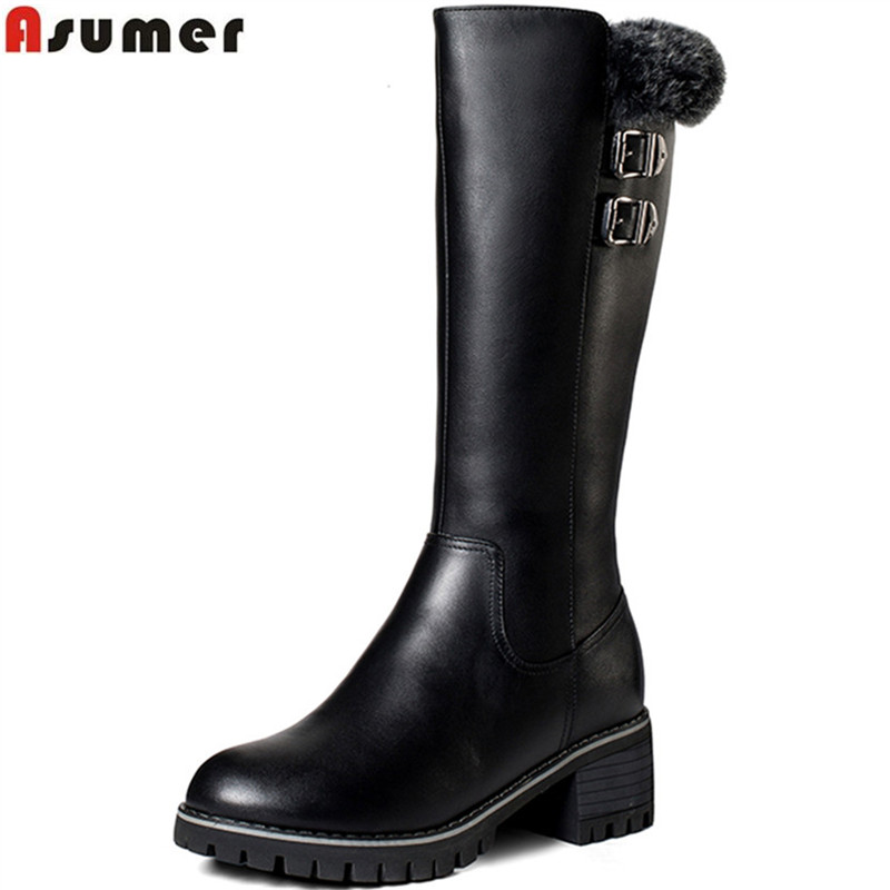 Asumer fashion new women boots round toe zipper ladies genuine leather boots square heel keep warm cow leather mid calf boots spring black coffee genuine leather boots women sexy shoes western round toe zipper mid calf soft heel 3cm solid size 36 39 38