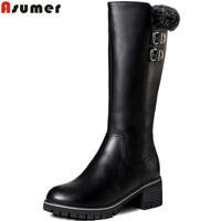 Asumer Fashion New Women Boots Round Toe Zipper Ladies Genuine Leather Boots Square Heel Keep Warm