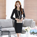 2016 Autumn Winter Slim Fashion Career Work Suits With Jackets And Dress Professional Formal OL Styles Ladies Blazer Outfits