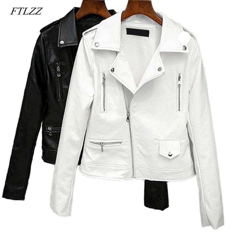 FTLZZ 2019 New Spring Autumn Women Biker Leather Jacket Soft Pu Punk Outwear Casual Motor Faux Leather Black White Jacket
