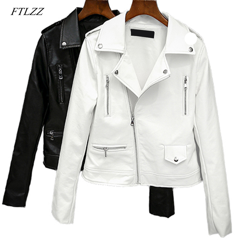 FTLZZ 2019 New Spring Autumn Women Biker   Leather   Jacket Soft Pu Punk Outwear Casual Motor Faux   Leather   Black White Jacket