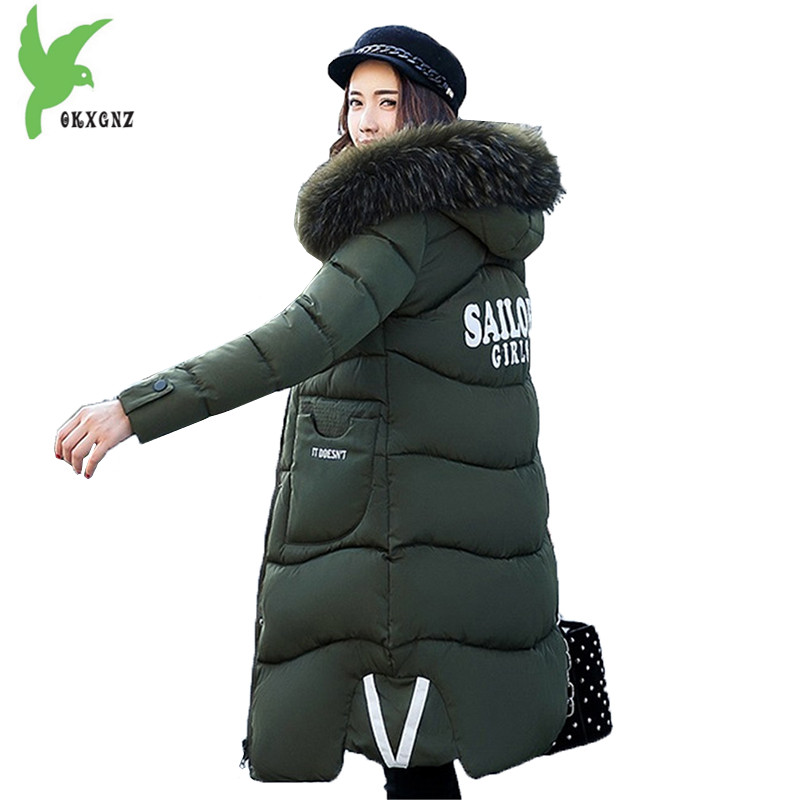 New Winter Women Cotton Jackets Solid Color Hooded Long Coat Plus Size Fur Collar Thicker Warm Slim Casual Outerwear OKXGNZ A795 winter women s cotton coats solid color hooded casual tops outerwear plus size thicker keep warm jacket fashion slim okxgnz a712