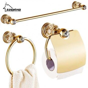 Luxus Zirkonium Gold Solide Messing Wc Papier Halter Poliert Handtuch Bar Kristall Runde Basis Handtuch Ring Bad Zubehör