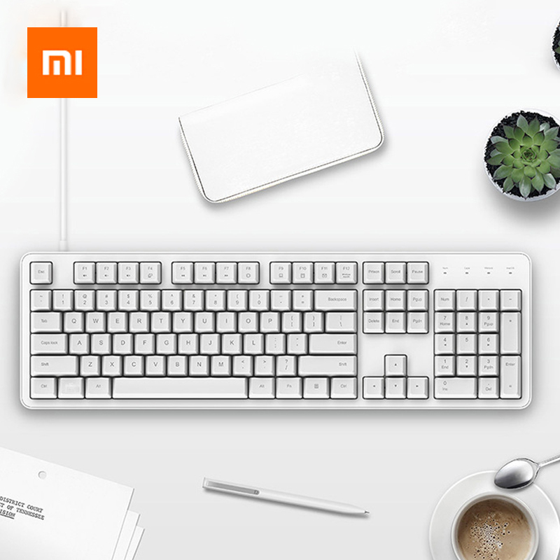 Xiaomi Ergonomic 104 Keys Full Size Mechanical Keyboard Cherry Red Switch USB Wired Keyboard Gaming Keyboard For Win 7/8/10 Mac-in Keyboards from Computer & Office