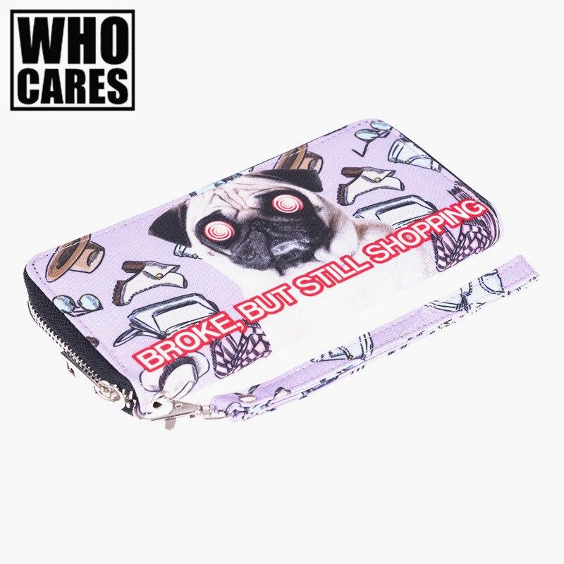 Shopping Pug 3D Printing wallet women messenger bags 2016 Fashion New carteira masculina men wallets portefeuille femme purse