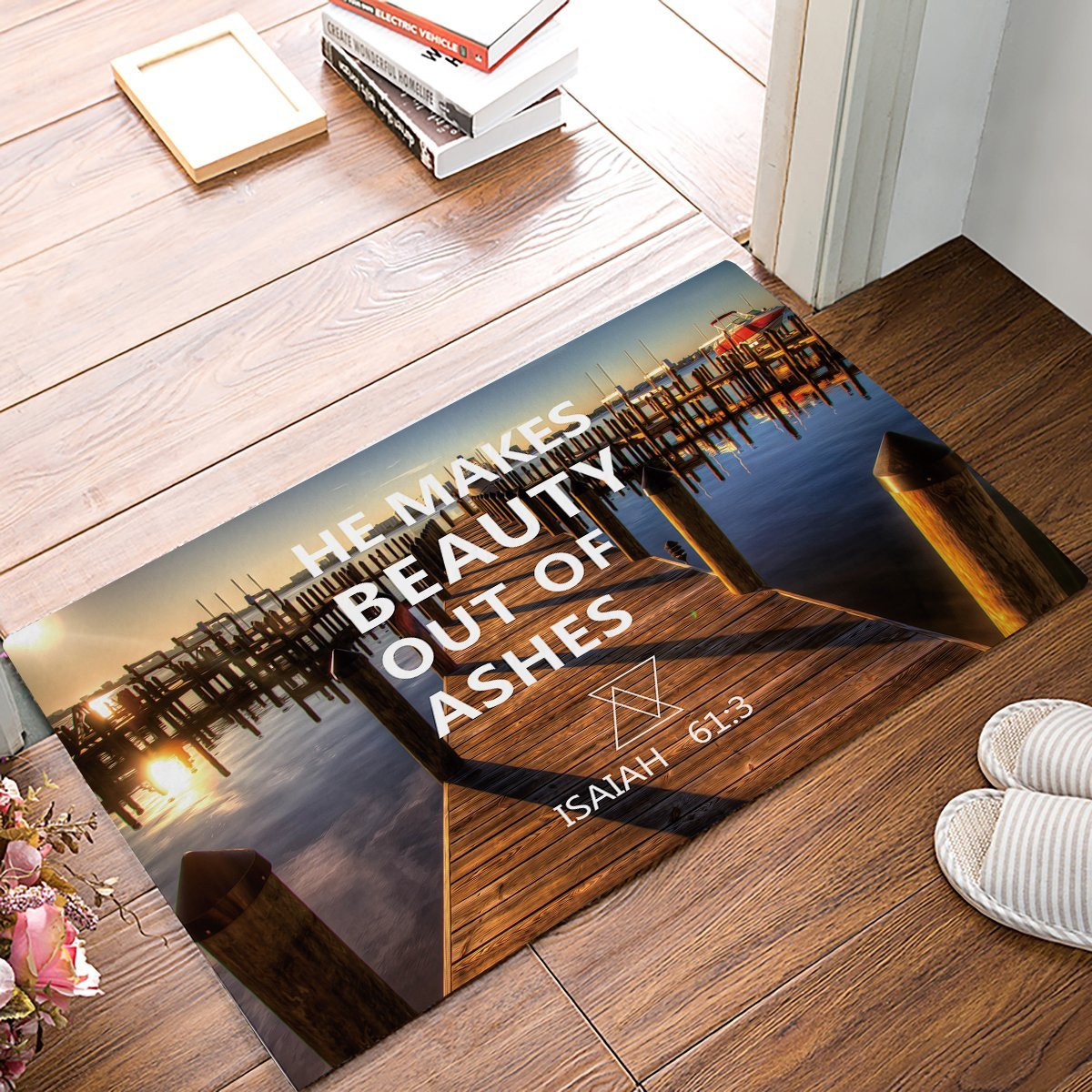 He Makes Beauty Out Of Ashes - Beautiful Waterscape Door Mats Kitchen Floor Bath Entrance Rug Mat Absorbent Indoor Bathroom
