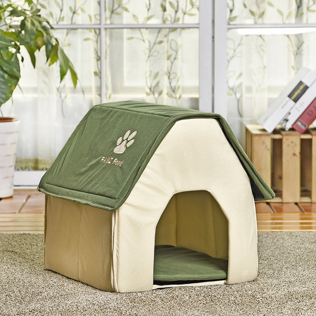 HOT!! Dog Bed Cama Para Cachorro Soft Dog House Blanket Option Pet Cat Dog Home Shape 2 Colors Red/Green Puppy Kennel Soft 2