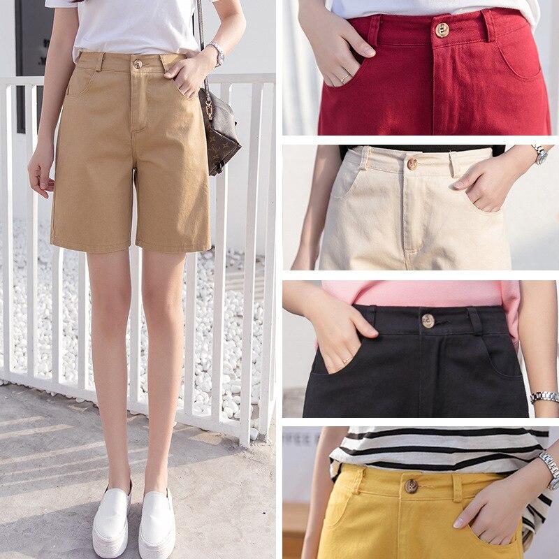 2019 summer women's tooling   shorts   fashion high waist loose wide leg long   shorts   students 4 points   shorts   Harajuku style female
