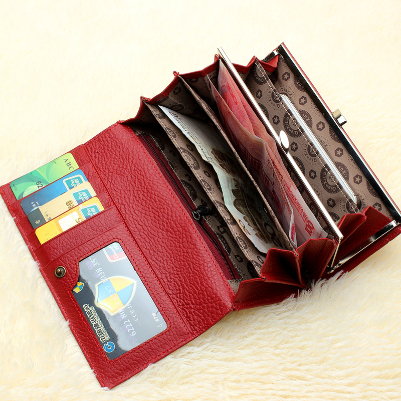 2018 Brand Genuine Leather Wallet for Women,High Quality Coin Purse Female