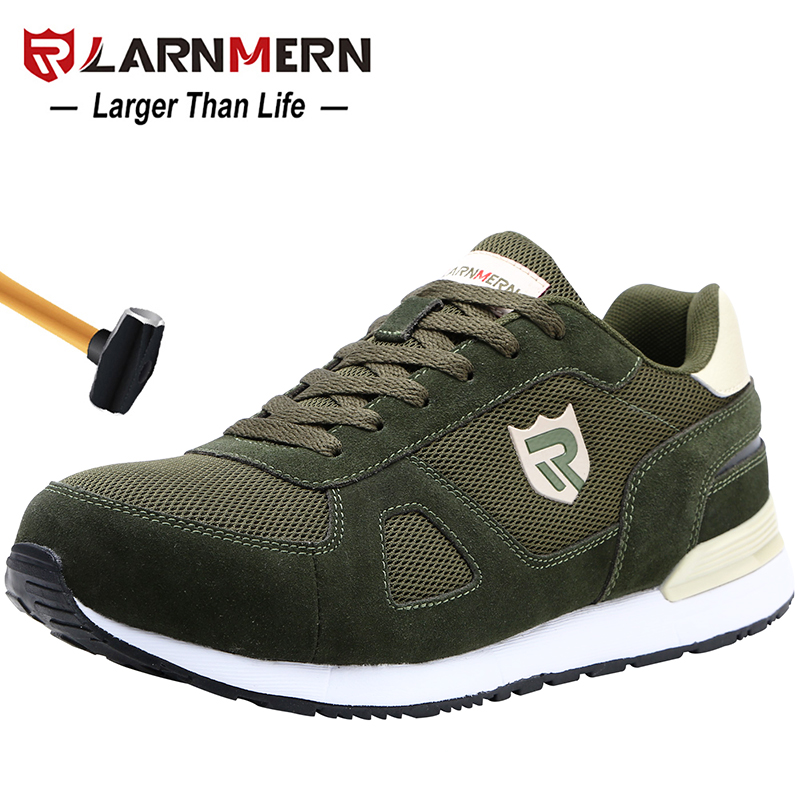 LARNMERN Mens Steel Toe Work Safety Shoes For Men Lightweight Breathable Anti smashing Non slip Reflective
