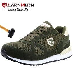 Larnmern homens de aço toe sapatos de segurança de trabalho para homem leve respirável anti-smashing antiderrapante reflexivo sapatos de proteção