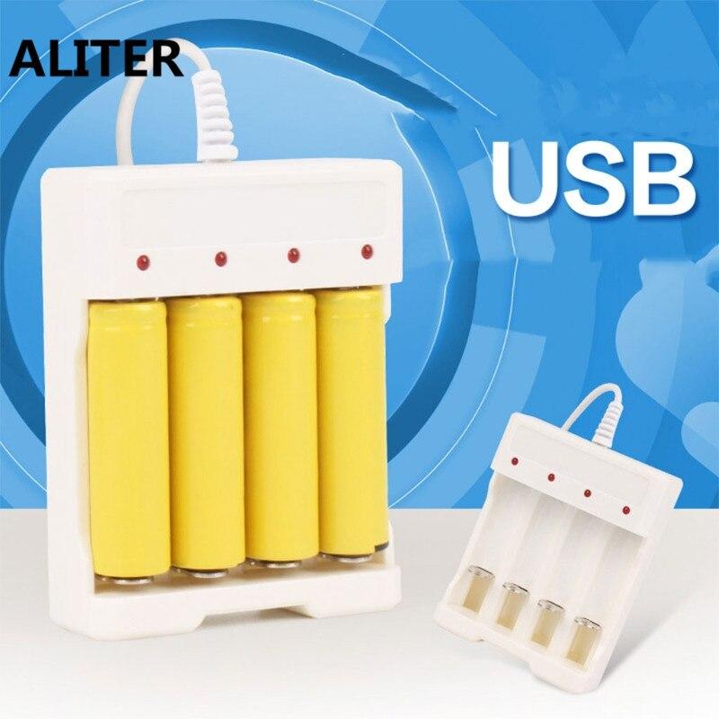 ALITER 1.2V Universal Smart 4-Slot AA/AAA Rechargeable Battery Charger Adapter USB Plug
