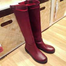 Women's Metal Buckle Knee High Boots Genuine Leather Flats Tall Boots Brand Designer Comfortable Waterproof Wnter Shoes Women