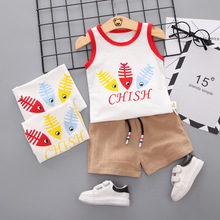 Summer Baby Boys Sleeveless Cotton Cute Cartoon Print Tops Blouse Vest+Shorts Casual Outfits Sets