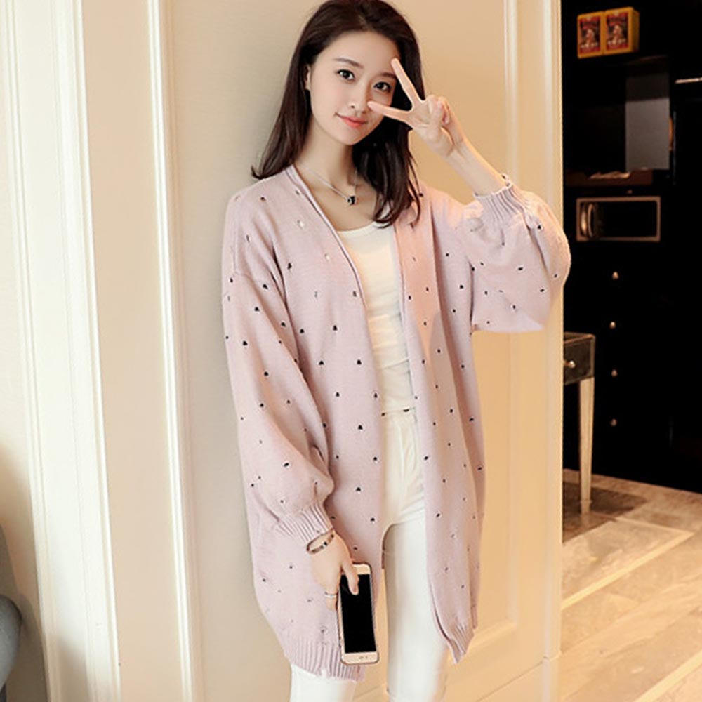 2018 Women Autumn Cardigan Knitwear Long Coat Korean Style Solid Hollow Lantern Sleeve C ...