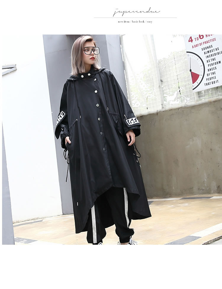 XITAO Spliced Plus Size Black Trench For Women Tide Long Print Streetwear Hoodie Casual Female Wide Waisted Coat 19 ZLL1100 6