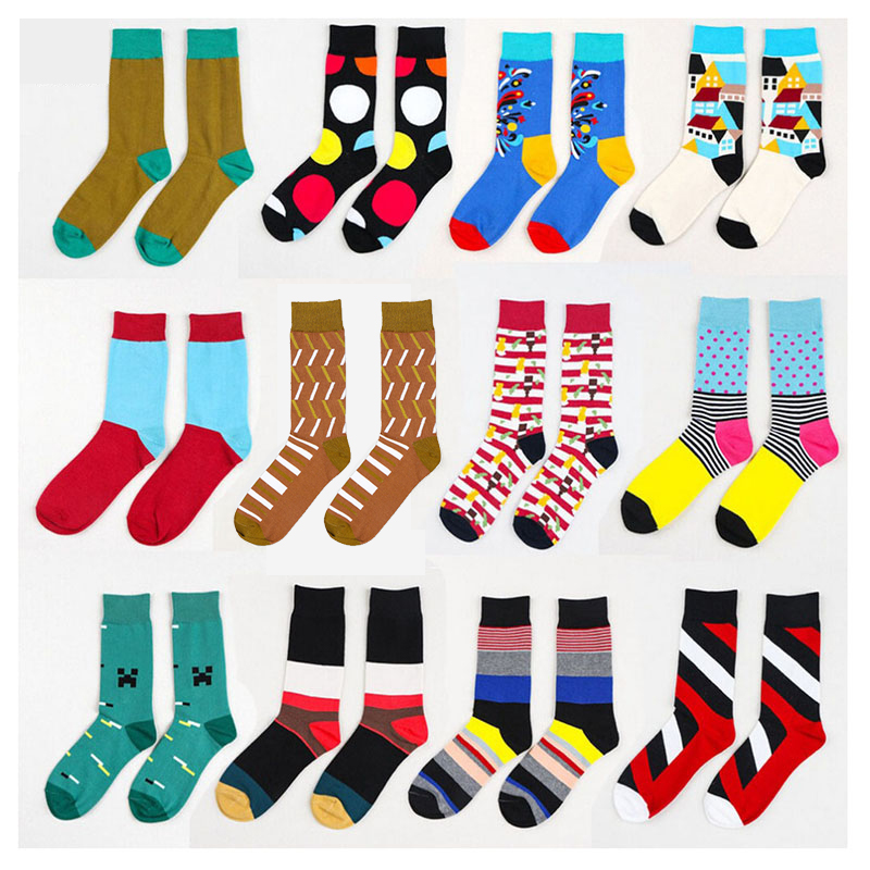 2016 Summer Fashion Mens Cotton Socks Colorful Striped Jacquard Art Socks Hit Color Dot Long Happy Socks Men's Dress Sock