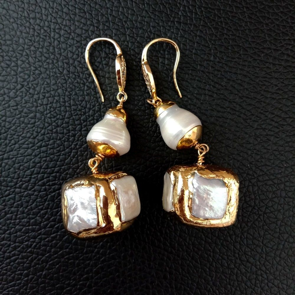 White Keshi Pearl Square Pearl  Golden Plated Hook Earrings