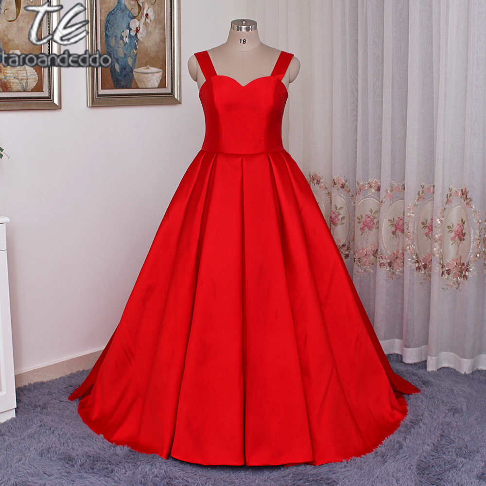 Cap Sleeves Ball Gowns Pleat Waistline Plus Size Matte Satin Hot Red Prom Gowns Simple Evening Dress vestido de formatura