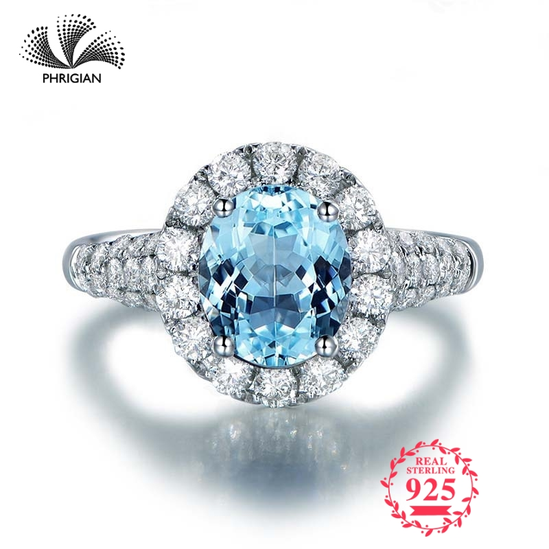 Pas faux anneau de gravure Fine S925 en argent Sterling pierre gemme ovale cu bague femmes bijoux personnalisés 925 carat bleu bague topaze