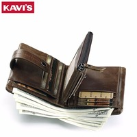 KAVIS Genuine Leather Wallet Men Coin Purse Male Cuzdan PORTFOLIO MAN Portomonee Small Mini Rfid Walet