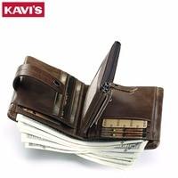 KAVIS Genuine Leather Wallet Men Coin Purse Male Cuzdan PORTFOLIO MAN Portomonee Small Mini Rfid Walet