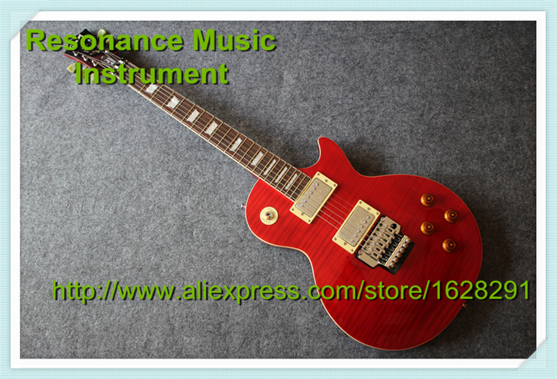 Custom Shop Chinese LP Standard Electric Guitar In Red Tiger Flame Top Guitar With Floyd Rose Tremolo For Sale high quality wholesale custom shop 1959 r9 tiger flame electric guitar standard lp 59 electric guitar hot