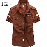 AFS JEEP S To 5XL Summer Men S Short Sleeve Shirt 100 Cotton Loose Casual Shirts
