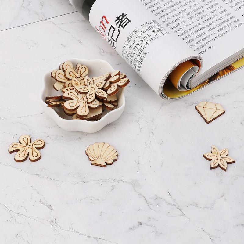 50pcs Laser Cut Wood Seashell Embellishment Wooden Shape Craft Wedding Decor