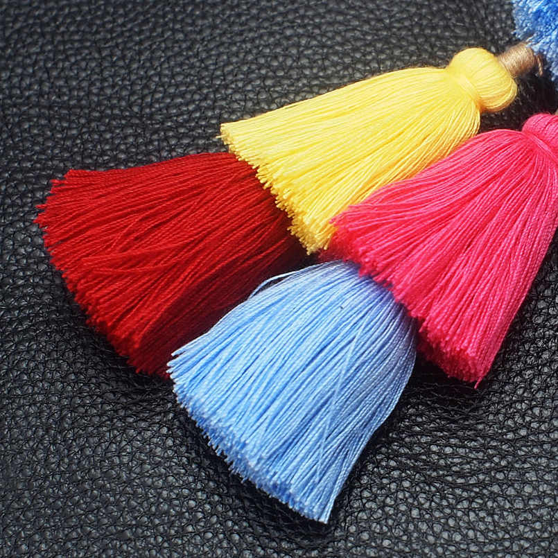 Manilai boêmio artesanal saco pingente feminino charme pompom chaveiro multicolorido algodão borlas grande bola chaveiro acessórios