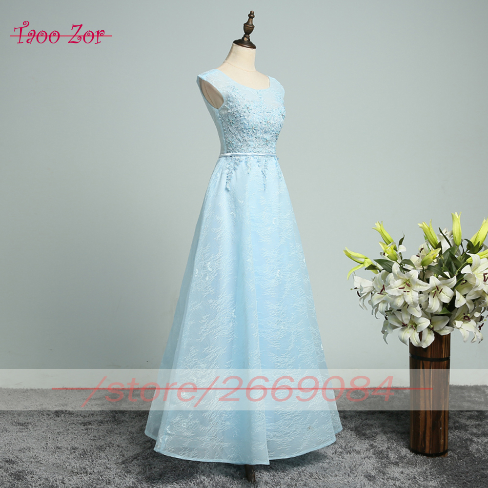 TaooZor Slim Embroidery Lace Long A line Tulle Bridesmaid Dresses 2017  Appliques Ribbons Sashes Tulle Formal Dresses Plus Size-in Bridesmaid  Dresses from ... 044a45fd9d46