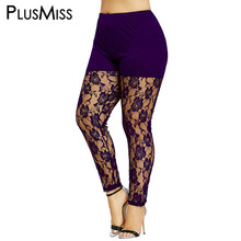 Plus Size 5XL High Waist Black Sexy Floral Lace Sheer Legging Women Skinny See Thourgh Leggins