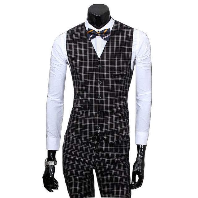 2016 New Arrival  Men Wedding Plaid Suits Contain Blazer+Pants+Vests 3 Piece Suits Men Business Party Suits Terno masculino 285