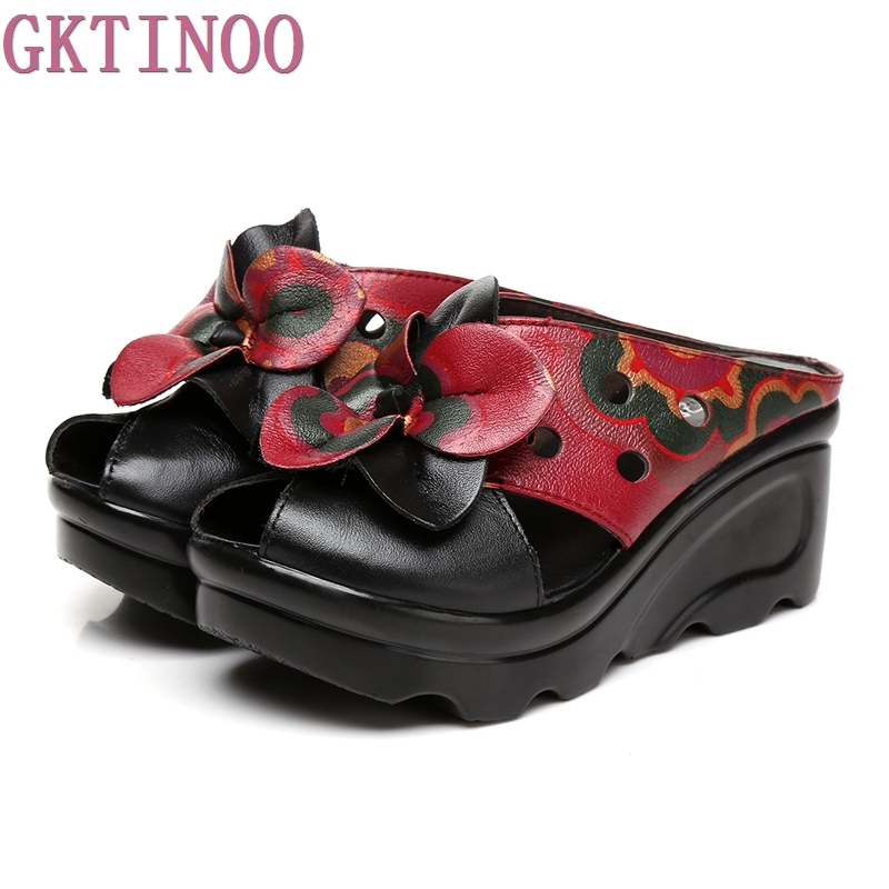 Летняя женская обувь тапочки на танкетке сандалии на платформе Натуральная кожа ручной работы цветок полые удобные женские шлепанцы