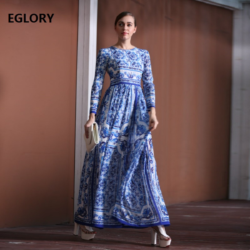 New Plus Size 7xl 6xl 5xl 4xl 3xl Evening Party 2018 Spring Autumn Women Vintage Porcelain Print Long Sleeve Elegant Maxi Dress