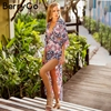 BerryGo Sexy Backless Maxi Summer Dress Women Lace Up Loose Print Casual Long Dress 2018 Boho