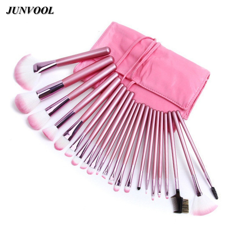 22pcs Pink Makeup Brushes Set Professional Maquiagem Tool Cosmetic Make Up Fan Brush Tools Set With Leather Makeup Bag Case 147 pcs portable professional watch repair tool kit set solid hammer spring bar remover watchmaker tools watch adjustment