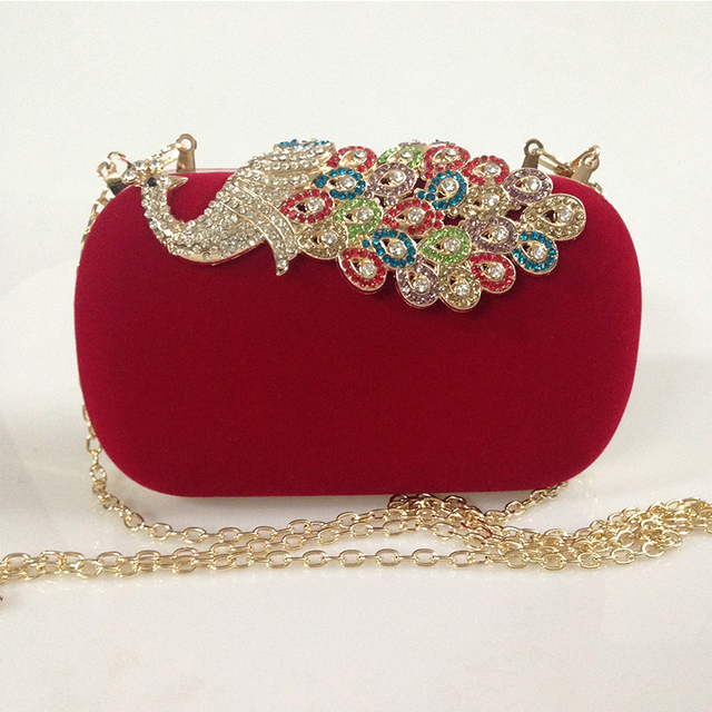 Women Rhinestone Evening Clutch Bag Las Red Purse Chain Handbag Bridal Wedding Party