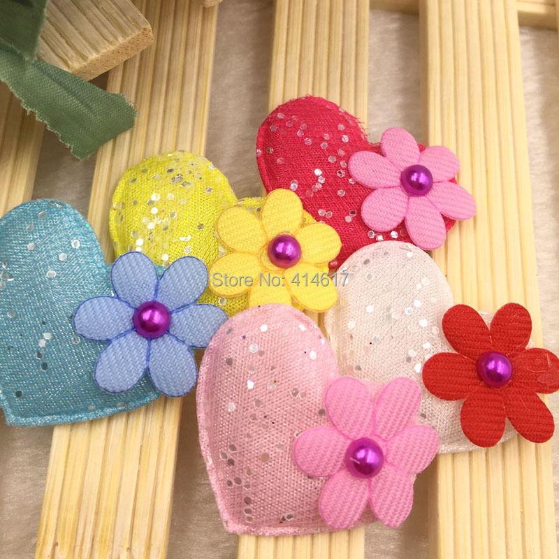 60PCS 32mm Padded Felt Sweet Heart Flower Appliques Craft Mix A321