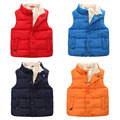 Baby solid color cotton vest new winter 2016boys pure color single breasted vest children's wear children to add more wool coat
