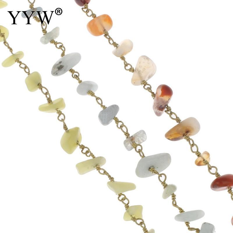 Chaîne en or 10 m/Spool pour la fabrication de bijoux à bricoler soi-même chaîne de perles décoratives pierres précieuses mode femmes collier de fabrication de bijoux 4-12mm
