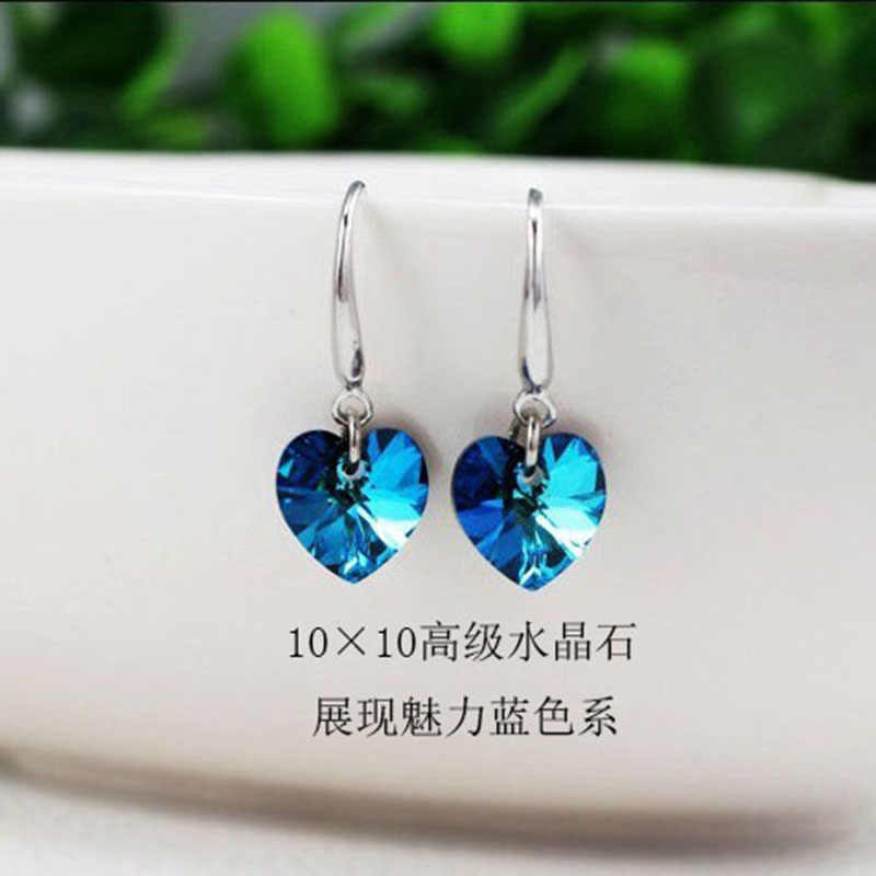 2019 latest fashion blue heart-shaped cute earrings fashion jewelry pendant statement earrings ladies gifts wedding accessories