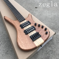 Factory custom 24 frets 6 strings natural wood color electric bass with black hardware,2 pickups,can be changed as request