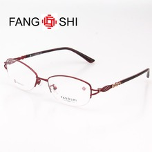 Fang Shi Eyeglasses Frame Women Eyewear Frames Titanium Alloy Optical Prescription Spectacles Half Rimless Designer
