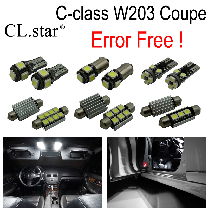 ФОТО 14pcs LED license plate interior light Kit For Mercedes Benz C class CL203 Coupe C160 C180 C200 C220 C230 C320 C350 C30 AMG C32