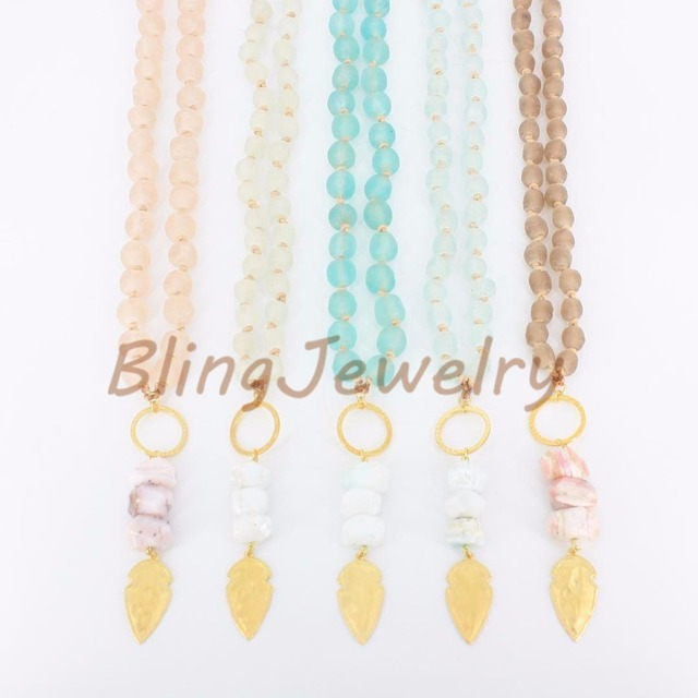 Pre order african recyled beads necklace stone nuggets and gold pre order african recyled beads necklace stone nuggets and gold arrowhead pendant necklace mix random aloadofball Image collections