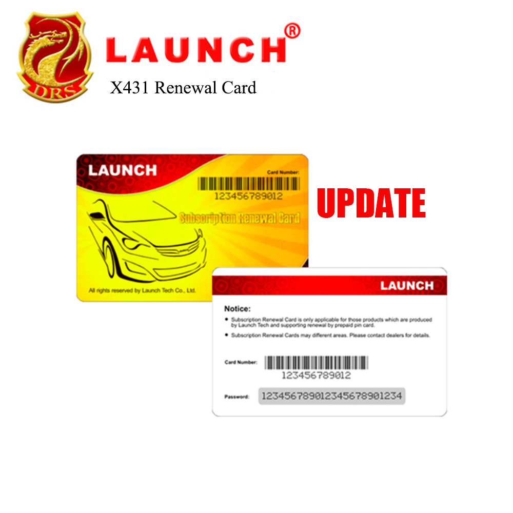 Launch Renewal Card for X431 V+, X431 PROS MINI, Diagun IV, X431 V, X431 PRO Pin Card for Gasoline & Diesel Update Service
